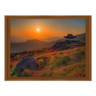 Foto Quadro coreano da madeira do templo do por do sol