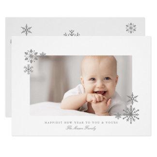 Foto quadro do ano novo dos flocos de neve do convite 12.7 x 17.78cm