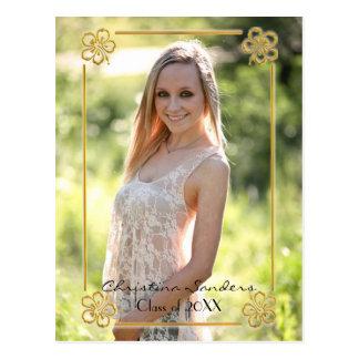 Foto quadro floral do ouro - cartão da graduação