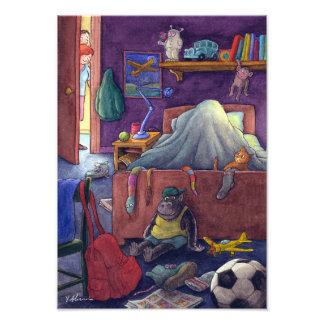 Foto Quarto do miúdo. Uma criança que finge ir dormir