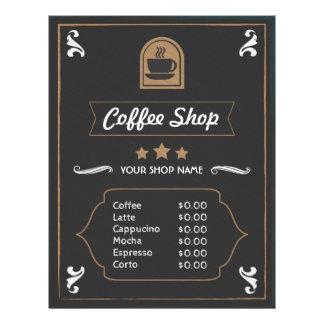 Foto retro da cafetaria e cartão do menu do