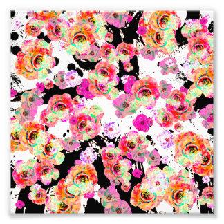 Foto Rosa e primavera do coral floral em preto e branco