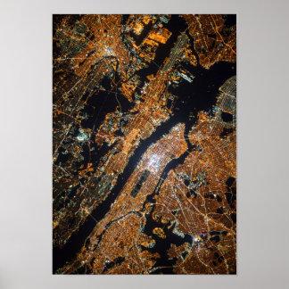 Foto satélite do espaço da cidade urbana poster