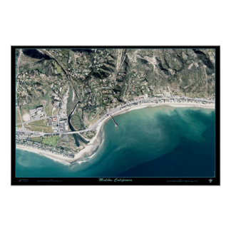 Foto satélite do poster de Malibu, Califórnia