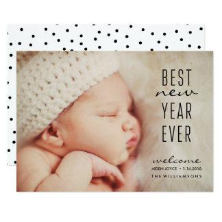 Foto sempre moderna nova do feriado do ano do bebê convite 12.7 x 17.78cm