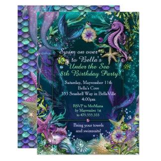 Cartão Foto sob os convites do aniversário da sereia do