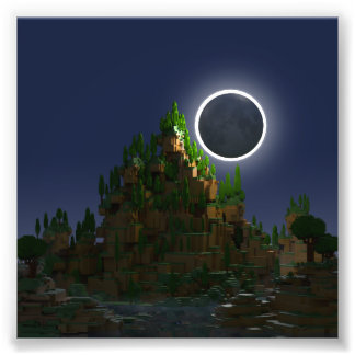 Foto Sombra arte poli de Voxel da lua da baixa