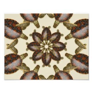 "Foto Tartaruga verde Kaleidoscopic 14"" x 11"" impressão"