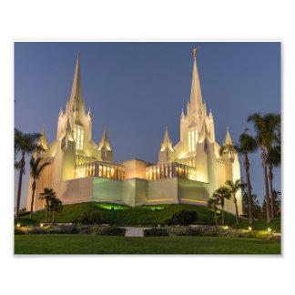 Foto templo de 8X10 San Diego LDS na noite
