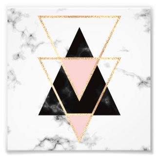 Foto Triângulos, ouro, preto, rosa, mármores, colagem,