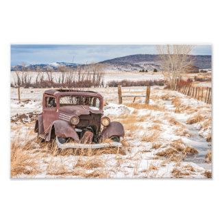 Foto Veículo velho dilapidado, inverno, rural,