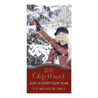 Foto verde vermelha limpa simples do feriado do cartão com foto