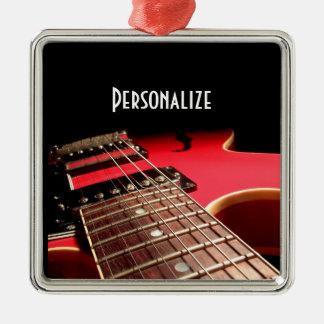Foto vermelha brilhante da guitarra elétrica enfeites para arvore de natal