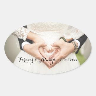 Foto Wedding personalizada para sempre & sempre Adesivo Oval