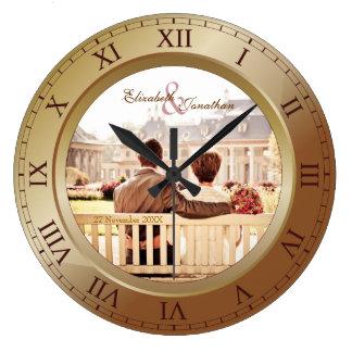 Fotografia customizável do bronze do aniversário relógio grande