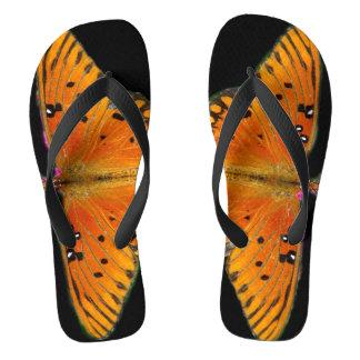 Fotografia de asas da borboleta em chinelos