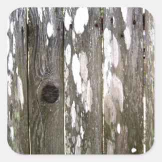 Fotografia de madeira da textura da cerca adesivo em forma quadrada