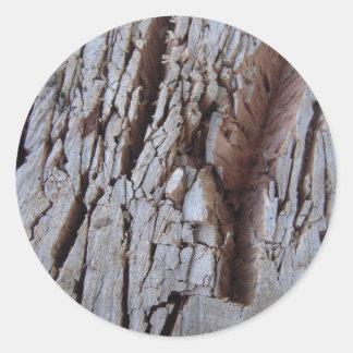 Fotografia de madeira desbastada da textura adesivo redondo
