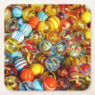 fotografia de mármore de vidro colorida bonita das porta-copo de papel quadrado