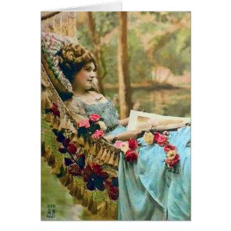 Fotografia de relaxamento do vintage da mulher cartão comemorativo