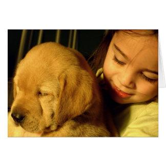 Fotografia do cão de filhote de cachorro do golden cartão comemorativo