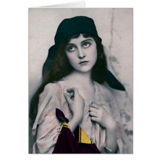 Fotografia exótica pensativa da mulher cartões