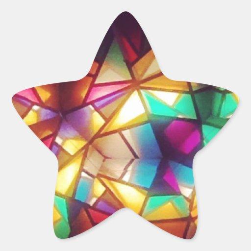 Fotografia geométrica da arte do vitral do adesivo estrela