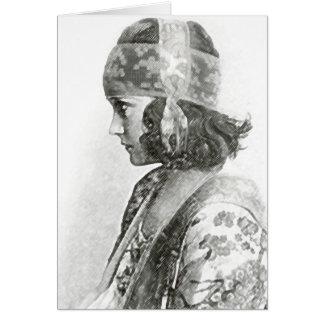 Fotografia pensativa da mulher cartoes