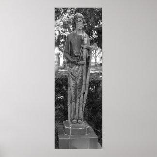 Fotografia preto e branco da estátua de St Joseph Pôster