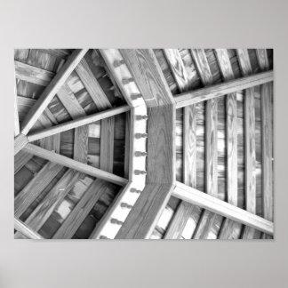 Fotografia preto e branco de madeira pôster