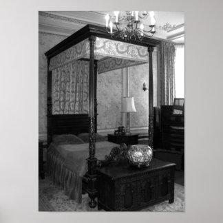 Fotografia preto e branco do quarto do vintage pôster