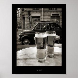 Fotografia preto e branco dos restaurantes de pôster