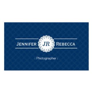 Fotógrafo - azul moderno do monograma cartões de visitas