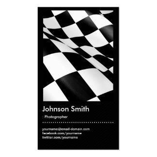 Fotógrafo - bandeira Checkered branca preta Cartão De Visita