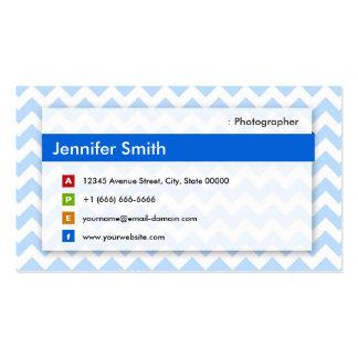 Fotógrafo - Chevron azul moderno Cartão De Visita