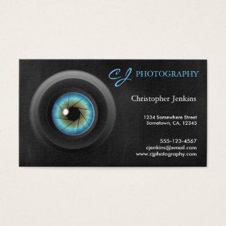 Fotógrafo legal da objectiva dos olhos azuis da cartão de visitas