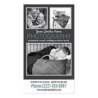 Fotógrafo moderno com as 3 fotos da amostra cartoes de visitas