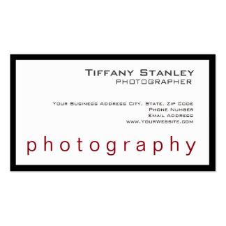 Fotógrafo na moda branco do quadro preto à moda cartão de visita