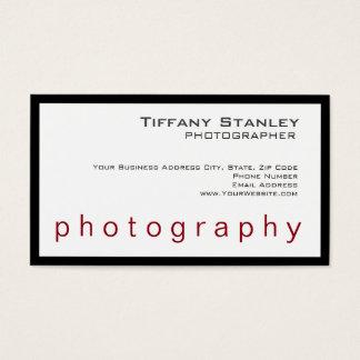 Fotógrafo na moda branco do quadro preto à moda cartão de visitas