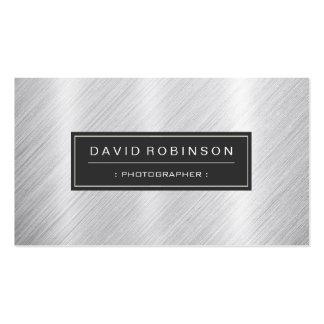 Fotógrafo - olhar escovado moderno do metal cartão de visita