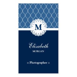 Fotógrafo - teste padrão azul elegante do laço modelos cartao de visita
