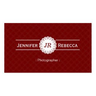 Fotógrafo - vermelho moderno do monograma cartão de visita