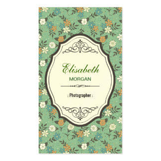 Fotógrafo - vintage elegante floral cartão de visita