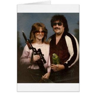 Fotos de família inábeis - casal com papagaio! cartão comemorativo
