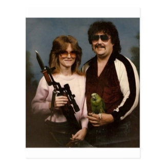 Fotos de família inábeis - casal com papagaio! cartão postal