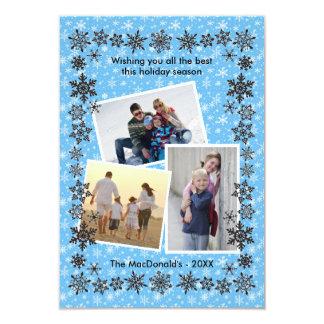 Fotos do azul 3 do quadro do floco de neve - convite 8.89 x 12.7cm