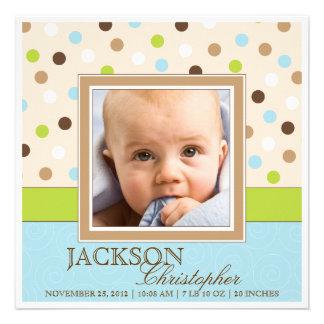Fotos do nascimento dois do bebé no azul + Pontos  Convite Personalizado