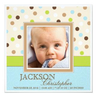 Fotos do nascimento dois do bebé no azul + Pontos Convite Quadrado 13.35 X 13.35cm