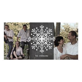 Fotos do quadro dois do floco de neve do Natal Cartao Com Fotos Personalizado