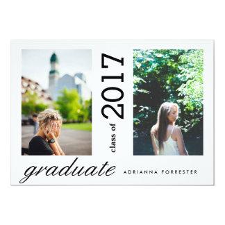 Fotos modernas simples do formando dois convite 12.7 x 17.78cm